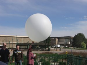 Launching a weather balloon with CSU's Department of Atmospheric Science.